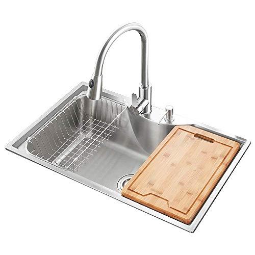 HomeLava brossé en acier inoxydable 304 évier de cuisine à laver évier avec vidange vidange de tableau de Distributeur de savon liquide évier de cuisine 77 * 47.5 CM (robinet non inclus)