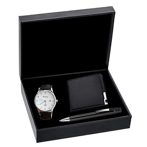 KUXIEN Herren Geschenkset mit Armbanduhr, Geschenkbox mit Herren-Armbanduhr, Geldbörse, Unterschrift Stift fürValentinstag,Weihnachten,Geburtstag Geschenk,Jahrestag Geschenk (Style1)