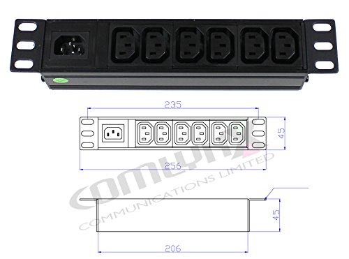 25,4 cm 6 Way IEC Abnehmbare Power Distribution Box Einheit Splitter PDU Daten Rack