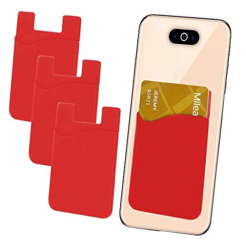 i-Tronixs (rot 3 Stück Kreditkarten-Halter für Handyrückseite, Silikon-Karten-Haftung, mit 3M Selbstklebendem Handy-Etui für Obi Punch S450 (kompatibel mit iPhone/Android/Tablets)