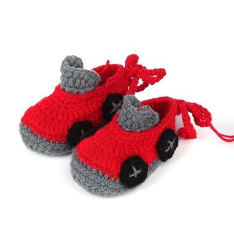 La vogue Rot Jungen Handarbeit Baby Socken Schuhe Babyschuhe Krabbelschuhe Erstlingssocken Auto Form (Prada Stoff)