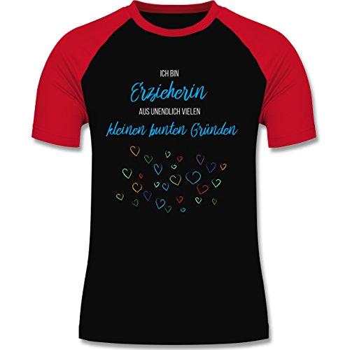 Sonstige Berufe - Erzieherin aus vielen kleinen Gründen - zweifarbiges Baseballshirt für Männer Schwarz/Rot