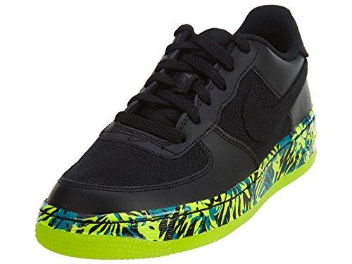 Nike Air Force 1 (GS) Kinder Basketballschuhe, schwarz/rot/blau (Black/Black - Volt - Rio Teal) - Größe: 22 EU