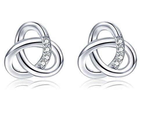 Ohrringe Damen 925 Sterling Silber Schmuck Ohrstecker mit Schlichtes Knoten-Design, Dorosé Ohrschmuck Set Geschenk für Freundin Mama