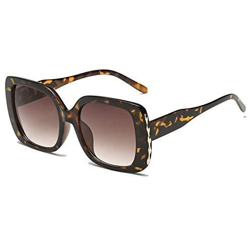 ZHAS High-End-Brille Frauen übergroße Sonnenbrille Gradient Sun Glasees Damen Vintage Big Frame Shades Brillen Uv400 Personalisierte High-End-Sonnenbrille Leopard