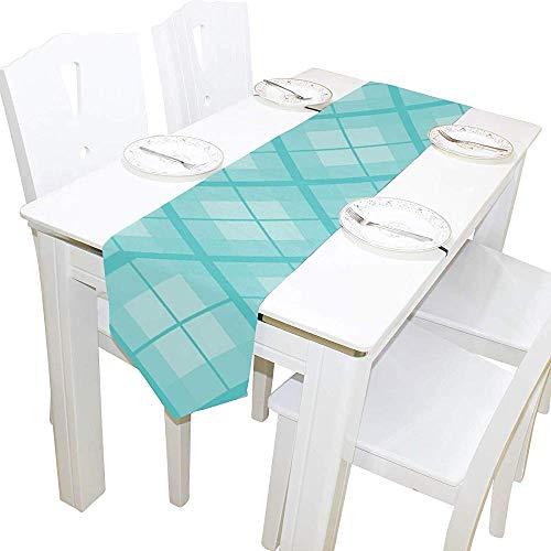 Sesily tovaglia rettangolari runner per tavolo in tartan blu lago 33x178 cm per matrimonio compleanno festa