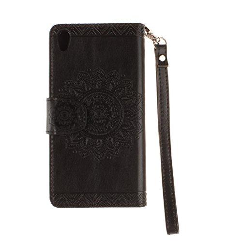 ANNN® Sony Xperia X Performance / XP Coque PU Cuir Flip Housse Étui Cover Case(Retro nationale Fleur)Portefeuille Supporter avec Fonction Stand et Fentes de Carte de Crédit + Quill stylet + Pendentif  A01