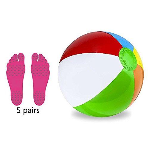 Xueliee Panel Beach ball-barefoot Sohlen Fuß Polsterung Aufkleber Einlagen unsichtbar Schuh Wasser, M-6 Pairs Feet pads Red+Beach ball