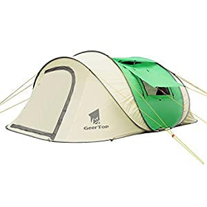 geertop 4-6 person portable instant pop-up shelter tent for outdoor beach camping