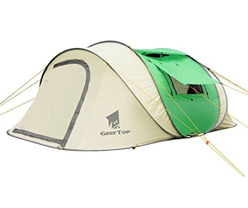 GEERTOP Wurfzelte Pop Up Zelt Automatikzelt Wasserdichtes UV-Schutz für 4 bis 6 Personen Ideal für Outdoor Camping Wandern Reisen Strand