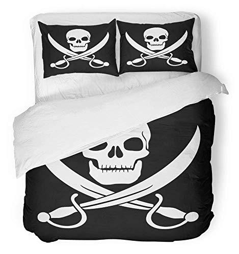 3-teiliges Bettbezug-Set atmungsaktiv gebürstetes Mikrofasergewebe Schwert Piratenschädel und...