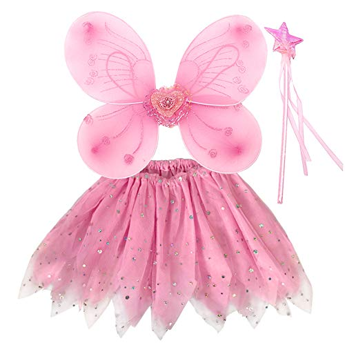 EQLEF Fee Kostüm Mädchen, Prinzessin Fee Kostüm Fee Schmetterlingsflügel für Mädchen Tutu Flügel festgelegt - Set von 3 - Tanzsport Kostüm Kinder