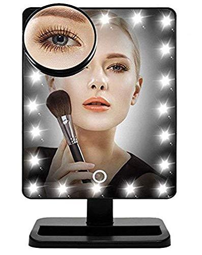 Black Friday ANGEBOT (-10%)FLYMEI Global Miroir Lumineux Maquillage avec 24 LEDs Miroir de Maquillage de Table Noir LED Miroir Cosmétique