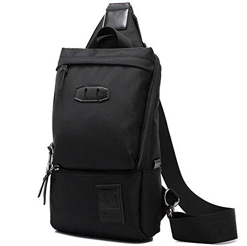 ROBAG Koreanische Herrenmode outdoor Leinwand Sporttasche Brust Pack Freizeit Trends des outsourcing black