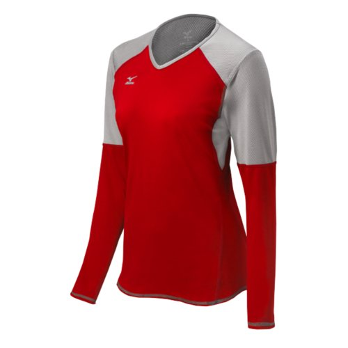 Mizuno Damen Techno VI Long Sleeve Volleyball Jersey, Damen, Techno VI, rot/Silber