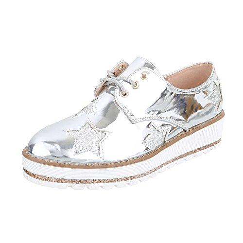 Schnürer Damen-Schuhe Oxford Schnürer Schnürsenkel Ital-Design Halbschuhe Silber, Gr 40, A01-3-