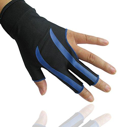 HIMM Verschleißfest 3Finger Handschuhe für Snooker Queue Sport die erste Wahl von Billard Spieler auf der linken Seite tragen (1Stück), blau