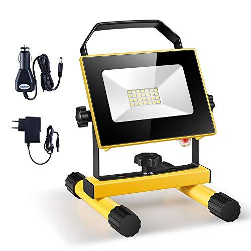 Faro ricaricabile a LED,Faretto a LED Portatile Ricaricabile da 10 W, 1000 LM IP65 impermeabile, luce di sicurezza di emergenza per giardino, pesca da campeggio [Classe di efficienza energetica A+]