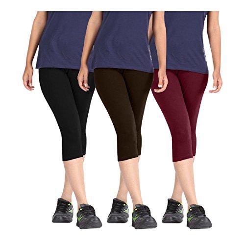 Pixie Women\'s Cotton Lycra Western Wear 3/4 Capri Leggings, Free Size(Black, Dark Brown and Maroon, PCAPRI3BDBRM) - Pack of 3