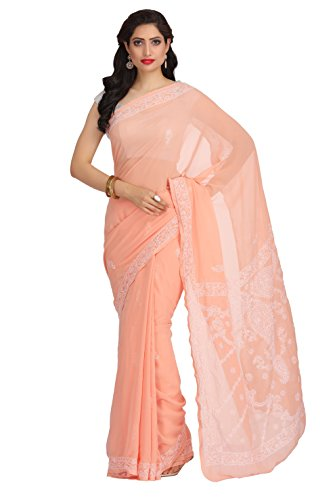 ADA Handmade Lucknowi Chikankari Faux Georgette Saree with Blouse A191789