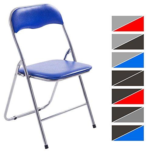 CLP Klappstuhl Küchenstuhl Felix, Metallgestell, Kunststoff-Sitz gepolstert blau/Silber