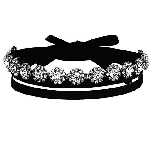 Epinki Damen Choker (Verstellbar), Smat Doppel Halskette Blumen Zirkonia Kette Tattoo Halsband Schwarz Silber 141.5CM mit Zirkonia -