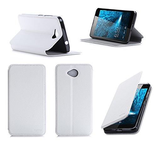 Microsoft Lumia 650 Tasche Leder Style weiß Hülle Cover mit Stand - Zubehör Etui smartphone 2016 Lumia 650 Dual SIM Flip Case Schutzhülle (Handy tasche folio PU Leder, weiss white) - Brand XEPTIO accessoires