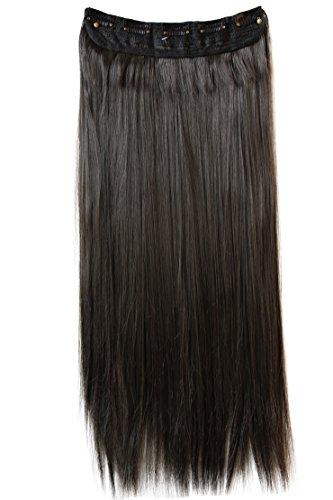 PRETTYSHOP XXL 5 Clips ein Teresse ganzen Kopf Clip In Extensions Haarverlängerung glatt 70cm brünett #8 C53a