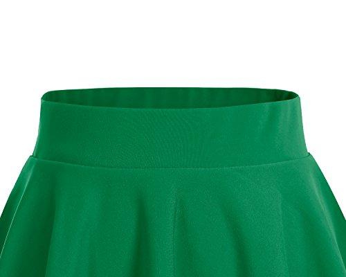 Bridesmay Donna Gonna Vita Alta Casual Solida Colore Mini Gonna Green