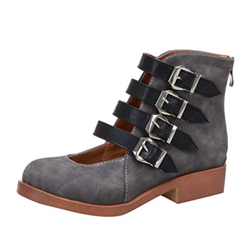 Makefortune-Schuhe Damenstiefeletten, 2019 Neueste Sandaletten, PU-Leder Cool Girls Ladies Sandalen aushöhlen, Runde geschlossene Zehen Bukle Zip Sandalen Bootie