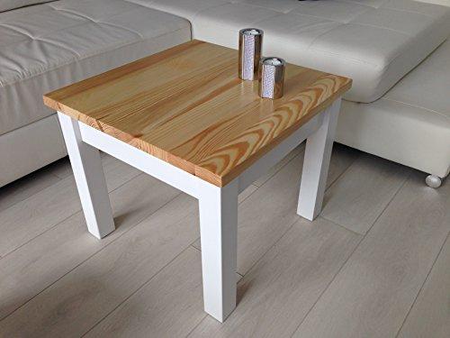 Couchtisch Tisch Kiefer massiv Holz weiß honig neu h45x50x50 cm