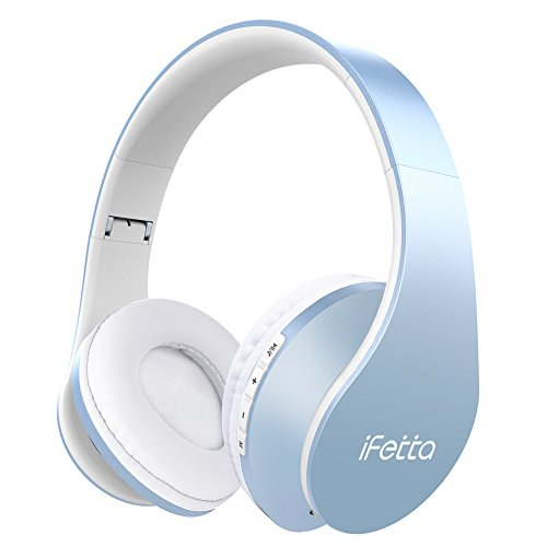 Bluetooth Kopfhörer, Ifecco Bluetooth Headset Wirless Ohrpolster Kopfhörer, Stereo-Headset Sport Hörer Kompatibel mit Allen Gängigen Smartphones/Tablets/Notebooks (himmelblau) - Wired-oder Mic Wireless