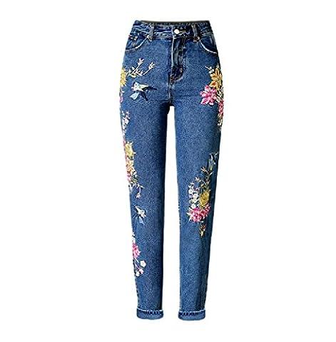 Homieco™ Women's Stylish High Waist Regular Flower Embroidered Denim Pants
