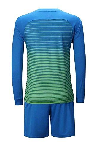 BOZEVON Kids Adults Mens Long Sleeve Football Training Kit Sportswear Tops T Shirt   Shorts Tracksuit Set  Light Blue  UK 3XS Tag 2XS  Height 130-135cm