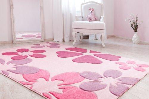 Kinderteppich schmetterling rosa  Kinderteppich Mädchenteppich Blumenteppich Kinderzimmer ...