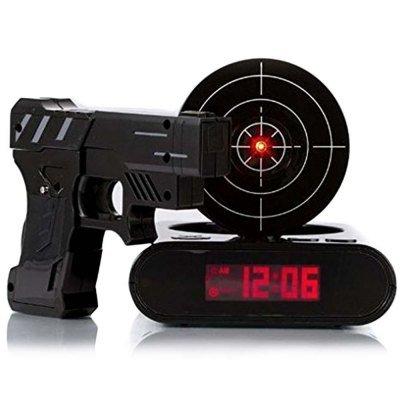 Tera LCD Infrarot Wecker Digitalwecker Shooting Alarm Clock mit Zielscheibe Laserpistole Gun (Weiß...