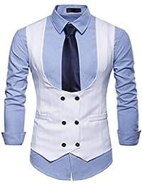 GOMY Uomo Doppiopetto Panciotto Casual Elegante Giacca Slim Fit Blazer  Cerimonia Tinta Unita Gilet 352f19a9314