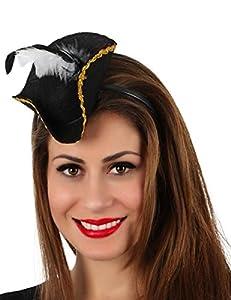 Atosa-15778 Diadema Mini Sombrero Pirata, Color negro (8.42E+12)