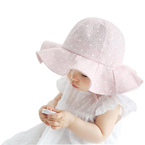 FALAIDUOInfant Kids Cap Summer Outdoor Baby Girls Boys Sun Beach Cotton Hat (One Size, Pink)