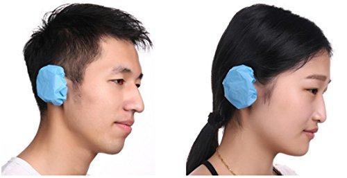 Einweg Sicherheit Ohrenschützer ohrenkappen Ohr Abdeckung Kappe Ohrenschützer für Haare färben Dusche Wasserdicht-Displayschutzfolie Färben Dusche Wasserdicht Baden Salon (50Blau)