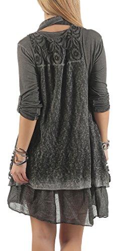 malito Robe avec écharpe Cardigan Maxi-Robe Dentelle 6285 Femme Taille Unique gris foncé