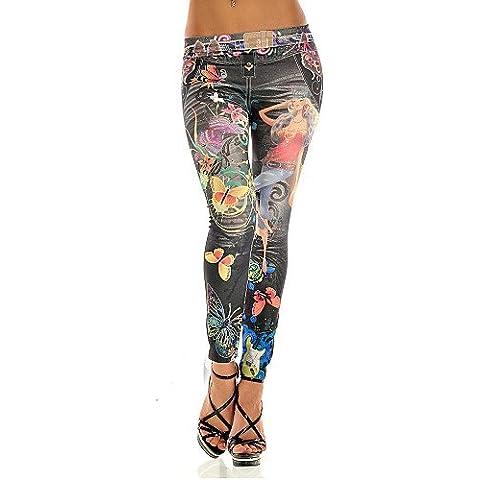 ZY/chinanuo donne sexy farfalla Stampa Imitazione Jeans (misto cotone), blue-one-size