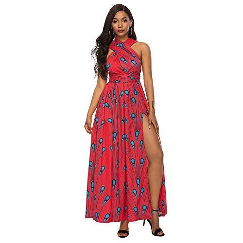 Ariymap Maxikleider Damen Sommer V-Ausschnitt Ärmellos Afrikanischer Druck Partykleider (Abendkleider Afrikanische)