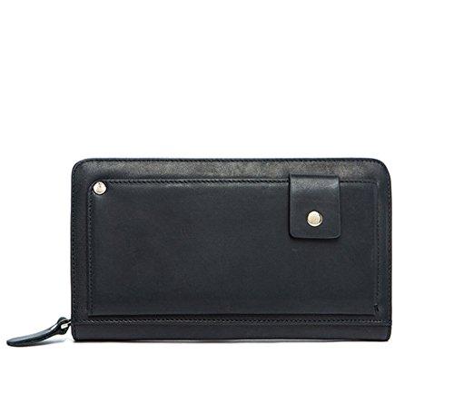 MeiliYH Männer echte Handtasche Casual Mode Einzelne Handtasche Multi-Card Retro Brieftasche Schwarz