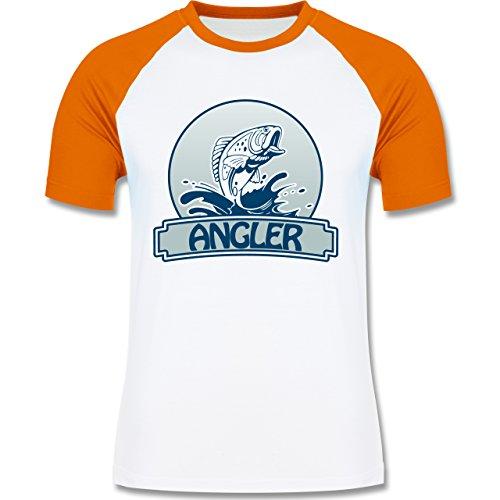 Angeln - Angler Button - zweifarbiges Baseballshirt für Männer Weiß/Orange
