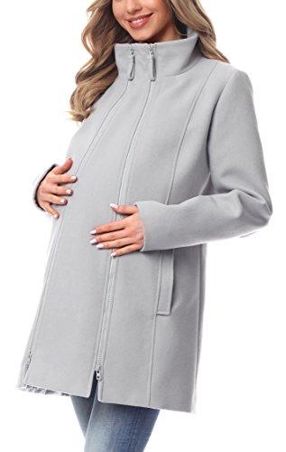 Be Mammy Abrigo Chaqueta Premamá Embarazo Ropa Invierno BE20-174 (Gris, EU 40=ES 40)