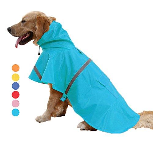FishBabe Labrador, deutsche Schäferhunde und große Rassen Haustiere Hunde Regenjacke Wasserdicht Poncho mit Streifen reflektierende