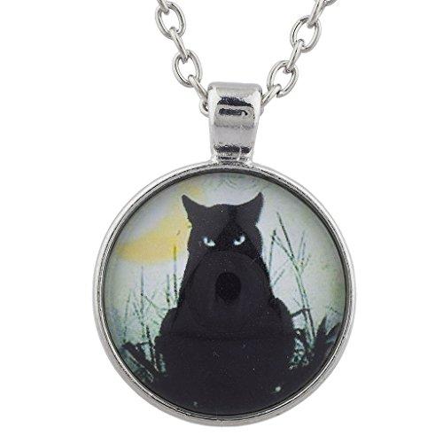 Lux Accessories LUX Zubehör Silverton Black Cat Magic Hexe Halloween Charm Anhänger Halskette (Kawaii Halloween Charms)