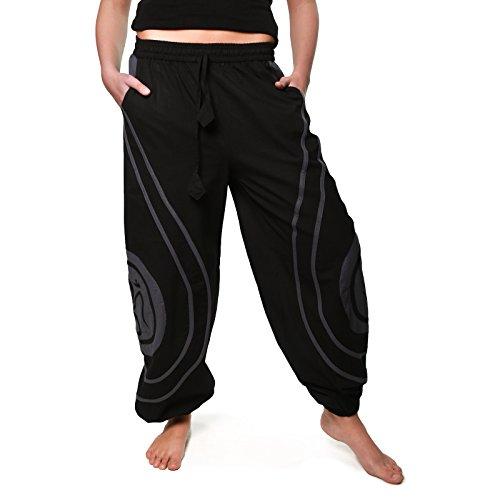 OM Unisex Psy Baggy Pants Hippie Hose Goa Baumwoll Tanzhose, Größe:S/M, Farbe:Schwarz / Grau (Kunst Bekleidung)