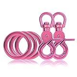 Ganzoo 3 x O - Ring aus Stahl und 2 x Scheren-Karabiner-Haken mit Dreh-Gelenk/Dreh-Kopf im Set, DIY Hunde-Leine/Hunde-Halsband, nichtrostend, Ideal mit Paracord 550, Farbe: pink
